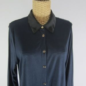 New Ann Tayolor Large Navy Black Colorblock Shirt